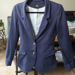 Used h&m blue blazer with elbow pads size 4
